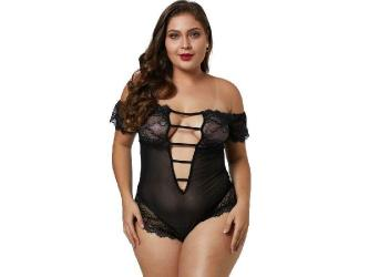 QUEEN LINGERIE PLUS SIZE TEDDY DE ENCAJES NEGRO XL